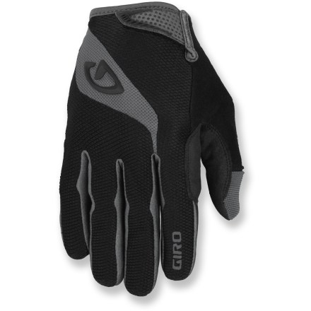 Fitness The Giro Tessa Long-Finger women's bike gloves are full-featured gloves designed for a wide range of riding conditions. Super Fit(TM) engineering process tailors gloves to match the shape and size of the hand, resulting in superior comfort and performance. Clarino(TM) synthetic leather palms, fingers and thumbs are breathable, water resistant, extremely abrasion resistant and supple. 3-panel palm construction significantly minimizes bunching while enhancing bar grip and feel. EVA foam-padded palms absorb impact and increase comfort without compromising dexterity. Back of gloves features 4-way stretch moisture-wicking fabric for breathability. Giro Tessa Long-Finger women's bike gloves feature soft and highly absorbent fabric on the thumbs to give you a gentle place to wipe your nose/brow. Cuffs feature a rip-and-stick strap closure that hugs wrists for a secure fit; sonic-welded pull tab for easy on/off. - $20.93