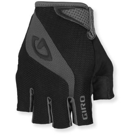 Fitness The full-featured Giro Bravo fingerless bike gloves are designed for a wide range of riding conditions, with an ergonomic design, generous gel padding and high-quality construction. Clarino(R) synthetic leather palms, fingers and thumbs are supple, breathable, water resistant and extremely abrasion resistant. Padded palms absorb vibrations and impact, increasing comfort without compromising dexterity. Back of gloves features 4-way-stretch, moisture-wicking fabric for breathability. Soft and highly absorbent fabric on the thumbs gives you a gentle place to wipe your nose/brow. Cuffs feature a rip-and-stick strap closure that hugs wrists for a secure fit; sonic-welded pull tab allows easy on/off. Giro Bravo bike gloves are machine washable in cold water. - $16.93