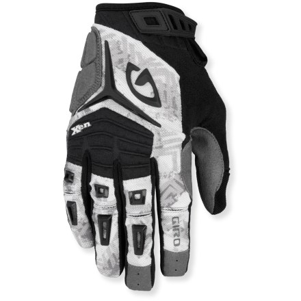 MTB Designed for all-mountain riding, the Giro Xen bike gloves balance protection and control. Lightly padded and highly durable, these excel for hard-charging riders. Supple Clarino(R) synthetic leather palms, fingers and thumbs are breathable, water-resistant and abrasion-resistant. Back of gloves features 4-way-stretch, moisture-wicking mesh for breathability. Strategically placed sonic-welded armor protects fingers and knuckles. Knuckle flex zones allow easy grip and dexterity; thumb and 2 fingers feature silicone tips for grip. Light foam padding offers impact protection that won't crush out over time. Cuffs feature a rip-and-stick rubber strap closure that hugs wrists for a secure fit; sonic-welded pull tab for easy on/off. Giro Xen bike gloves are machine washable in cold water. - $27.93