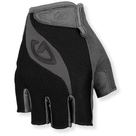 Fitness The Giro Tessa women's bike gloves offer incredible bang for your buck, with an ergonomic design, generous gel padding and high-quality construction. Supple Clarino(TM) synthetic leather palms, fingers and thumbs are breathable, water-resistant and abrasion resistant. Padded palms absorb impact and increase comfort without compromising dexterity. Back of gloves features 4-way-stretch, moisture-wicking fabric for breathability. Soft and highly absorbent fabric along thumbs gives you a gentle place to wipe your nose/brow. Cuffs feature a rip-and-stick strap closure that hugs wrists for a secure fit; sonic-welded pull tab allows easy on/off. Giro Tessa bike gloves are machine washable in cold water. - $25.00