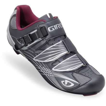 Fitness Taking cues from high-end shoes, these women's Giro Solara road bike shoes offer a supportive fit with a supple upper and a stiff sole. Supple microfiber uppers (with nylon mesh inserts) give a glovelike fit with excellent breathability. Dupont Zytel(R) nylon soles efficiently transfer power to the pedals and provide greater fatigue resistance than traditional nylon soles. Molded EVA footbeds with medium arch supports; Aegis(TM) EVA footbeds have an antimicrobial treatment for odor control. Strong and secure ratcheting buckle (replaceable) allows precise on-the-fly adjustability; make microadjustments to match the ride's intensity. 2 rip-and-stick closure straps provide a solid, secure fit; offset D-ring closure at mid-foot relieves pressure points. Giro Solara women's road bike shoes are compatible with SPD-SL and Look pedals; (pedals typically include cleats; cleats are also available for separate purchase). - $104.93