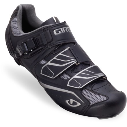 Fitness Taking cues from high-end shoes, the men's Giro Apeckx road bike shoes offer a supportive fit with a supple upper and a stiff sole. Supple microfiber uppers (with nylon mesh inserts) give a glovelike fit with excellent breathability. Dupont Zytel(R) nylon soles efficiently transfer power to the pedals and provide greater fatigue resistance than traditional nylon soles. Molded EVA footbeds with medium arch supports; EVA footbeds have an antimicrobial treatment for odor control. Strong and secure ratcheting buckle (replaceable) allows precise on-the-fly adjustability; make microadjustments to match the ride's intensity. 2 rip-and-stick closure straps provide a solid, secure fit; offset D-ring closure at mid-foot relieves pressure points. Giro Apeckx road bike shoes are compatible with SPD-SL and Look pedals; (pedals typically include cleats; cleats are also available for separate purchase). - $69.83