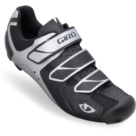 Fitness For the budget-conscious riders with Cat. 1 aspirations, the men's Giro Apeckx road bike shoes offer a glovelike fit with a supportive sole. High-grade synthetic leather uppers are supple enough for comfort and engineered for breathability. Injected nylon soles efficiently transfer power to pedals. Molded EVA footbeds with medium arch supports; EVA footbeds with antimicrobial treatment help control odors. Classic 3-strap rip-and-stick closures ensure a solid, secure fit. Giro Treble road bike shoes for men are compatible with SPD-SL and Look pedals; (pedals typically include cleats; cleats are also available for separate purchase). - $49.83