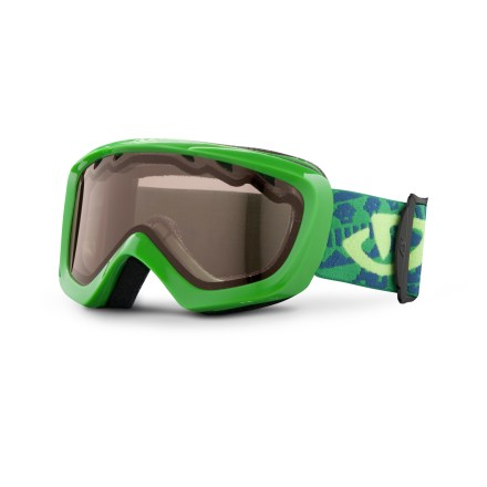 Ski With a helmet-friendly design, the boys' Giro Chico snow goggles offer comfort and convenience for eye protection and enhanced vision on the slopes. Youth size offers a wide field of vision and ensures a solid fit with helmets. Vented lens and antifog coating reduce moisture buildup in goggles. Plush face foam seals out the elements and is finished with a wicking microfleece. Amber Rose lens heightens detail and increases contrast in flat light; allows 40% visible light transmission. Blocks 100% of the sun's harmful UV rays. Giro recommends the Chico snow goggles for children ages 2 - 5. - $14.83