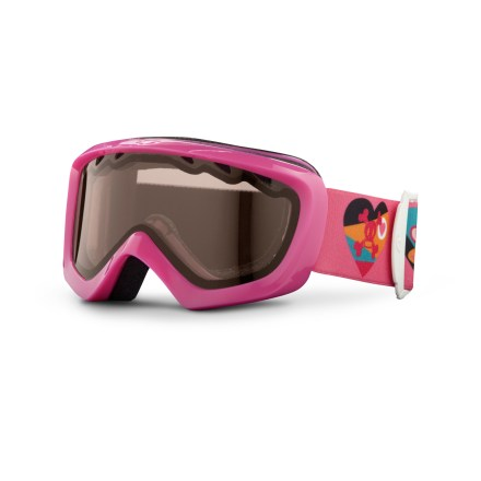 Ski Tuned for performance, the Giro Chico girls' snow goggles deliver a great, kid-friendly fit and clear optics for a girl perfecting her turns. Youth size offers a wide field of vision and ensures a solid fit with helmets. Vented lens and antifog coating reduce moisture buildup in goggles. Plush face foam seals out the elements and is finished with a wicking microfleece. Amber Rose lens heightens detail and increases contrast in flat light; allows 40% visible light transmission. Blocks 100% of the sun's harmful UV rays. Giro recommends the Chico snow goggles for children ages 2 - 5. - $14.83