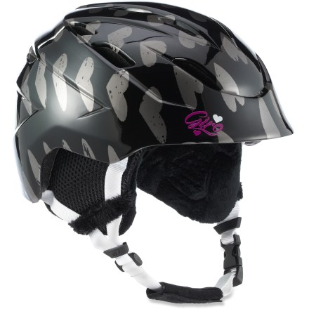Ski Sized for young skiers, the girls' Giro Nine.10(TM) Jr. snow helmet has all the features of the adult model and matches them with great graphics. Lightweight design with progressive lines and wide-angle cut provides great peripheral vision and a gapless fit with goggles. In-mold technology bonds the helmet's tough outer microshell to the internal expanded polystyrene (EPS) liner, creating a light, cool and strong helmet. 14 vents move cool, fresh air through the helmet while radiating heat and stale air out. Removable vent shield blocks cool air from entering helmet. Fit system features outrigger arms and an adjustment dial to fine-tune the fit; dial is easily operated, even with gloves on. Flexible pad at the base of the fit system conforms to head shape for a plush, personalized fit. Internal height adjustment compensates for different head shapes and goggles sizes. Security loop and deep Goggle Notch(TM) keep goggles attached to helmet in the event of a major digger. Giro Nine.10 Jr. snow helmet complies with ASTM F 2040 and/or CE EN 1077 alpine ski and snowboard helmet safety standards; for additional information see REI expert advice. - $90.00