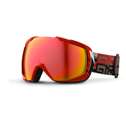 Ski With a minimalist frame and spherical lens, the Giro Onset snow goggles deliver enhanced peripheral vision and plenty of comfort for all-day powder sessions. Frame maintains an optimal fit around facial anatomy for excellent comfort and helmet compatibility; parts have been shaved down or removed to enhance peripheral vision. Spherical polycarbonate, dual-layer True Sight(TM) lens is made by Carl Zeiss Vision and supplies superior clarity, accuracy and a full field of vision. Antifog coating reduces moisture buildup on inside of goggles. Triple-density face foam delivers plush comfort and seals out the elements, and is finished with a wicking microfleece. Amber-tinted, red-mirrored lens offers 40% visible light transmission, enhancing detail and depth-perception in variable light conditions. The Giro Onset snow goggles are designed to fit medium- and large-size adult faces. - $150.00