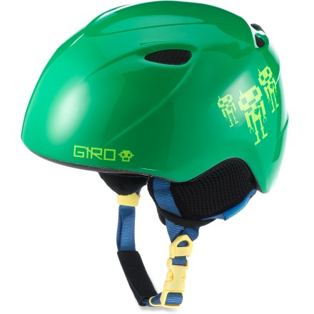 Ski The fun and comfortable boys' Giro Slingshot(TM) snow helmet gives your young guy the essential protection he needs. In-mold helmet construction simultaneously fuses a tough polycarbonate shell to a shock-absorbent foam liner to produce a helmet with high impact resistance and low weight. 4 vents work together to move cool, fresh air through the helmet while radiating heat and stale air out. Fit system features outrigger arms and an adjustment dial to fine-tune the fit; dial is easily operated, even with gloves on. Flexible pad at the base of the fit system conforms to head shape for a plush, personalized fit. Internal height adjustment compensates for different head shapes and goggles sizes. The boys' Giro Slingshot snow helmet provides a soft, cozy interior that helps keep kids warm and comfortable. This snow helmet complies with ASTM F 2040 and/or CE EN 1077 alpine ski and snowboard helmet safety standards; for additional information please see REI expert advice. - $60.00