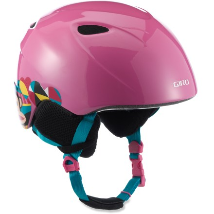 Ski The girls' Giro Slingshot snow helmet gives your young girl the essential protection she needs. In-mold helmet construction fuses a tough polycarbonate shell to a shock-absorbent foam liner to produce a helmet with high impact resistance and low weight. 4 vents work together to move cool, fresh air through the helmet while radiating heat and stale air out. Fit system features outrigger arms and an adjustment dial to fine-tune the fit; dial is easily operated, even with gloves on. Flexible pad at the base of the fit system conforms to head shape for a plush, personalized fit. Internal height adjustment compensates for different head shapes and goggles sizes. The girls' Giro Slingshot snow helmet provides a soft, cozy interior that helps keep kids warm and comfortable. This snow helmet complies with ASTM F 2040 and/or CE EN 1077 alpine ski and snowboard helmet safety standards; for additional information please see REI expert advice. - $60.00