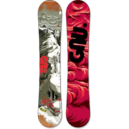 Snowboard The GNU Eco-Genetics C2 BTX snowboard conquers big-mountain terrain with ease. Smooth ride and lively pop perfectly describe the feel of the Eco-Genetics C2 BTX snowboard. C2 BTX technology features Banana Tech rocker between the feet and camber at the tip and tail, delivering amazing float whether you're riding regular or switch. Camber provides end-to-end stability and plenty of pop for boosting off natural terrain; Banana Traction technology offers carving performance and soft-snow float. Magne-Traction offers 7 contact points on each side of the board, resulting in amazing control whether riding ice or pow. Directional Twin shape is ideal for conquering deep powder through the trees. Eco-Genetic wood core combines bamboo, aspen and balsa wood with double sintered sidewalls, offering incredible pop, strength and control. LCP liquid crsytal polymer thermo-treated polyester fibers are built into the board, and offer 10 times the strength of titanium and incredible vibration absorption. Bio Beans topsheet is made from castor beans and features a high strength-to-weight ratio-it stands up to big drops and lift line scrapes and scratches. Sintered base is not only fast, it's also durable and highly wax absorbent; you'll spend less time performing maintenance and more time riding. GNU Eco-Genetics C2 BTX snowboard graphics by Adam Haynes of Bend, Oregon. . - $599.95