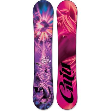 Snowboard The women-specific GNU B-Pro C2 BTX snowboard is built for hard-charging rippers that aren't afraid of big drops and steep lines. Magne-Traction offers 7 contact points on each side of the board, resulting in amazing control whether riding ice or pow. C2 BTX technology features Banana Tech rocker between the feet and camber at the tip and tail, delivering amazing float whether you're riding regular or switch. Camber provides end-to-end stability and plenty of pop for boosting off natural terrain; Banana Traction technology offers carving performance and soft-snow float. True Twin shape allows you to ride equally well in both directions with a focus on freestyle-park-, powder- and pipe-perfection! Bio Beans topsheet is made from castor beans and features a high strength-to-weight ratio-it stands up to big drops and lift line scrapes. Mervin AG2 core with sintered sidewalls offers strength, control and pop. LCP liquid crsytal polymer thermo-treated polyester fibers are built into the board, and offer 10 times the strength of titanium and incredible vibration absorption. Sintered base is not only fast, it's also durable and highly wax absorbent; you'll spend less time performing maintenance and more time riding. B-Pro C2 BTX graphics designed by artist Adam Haynes. . - $549.95