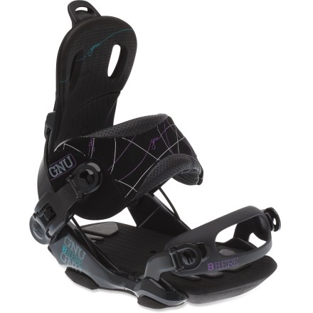 Snowboard Ride with finesse. The GNU B-Here snowboard bindings are at home in the park-strap them on and have fun laying down tracks. FT-4 canted baseplates align the ankles and knees in a natural position and add board leverage for more pop power. Toe and heel shock pads, canted EVA foam footbeds and a soft base absorb shock when landing huge drops. Symmetric highbacks are cored to reduce weight and offer better flex; soft-top padding for comfort. Highbacks offer 5 forward-lean settings for a custom fit. Reclining highbacks make entry and exit fast and easy; auto-open lever on ankle strap pops open automatically when you lower the highback, offering easy foot entry and exit. Asymmetric ankle straps offer increased lateral support and medial mobility. New thin-fit toe strap features an oversize surface area for extra stability; low-volume design conforms to boots for increased fit. GNU B-Here bindings feature micro buckle 2 for quick adjustments while on the go. - $229.95