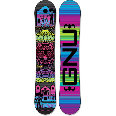 Snowboard What's better than a snowboard with rad graphics? One that comes with a matching blanket. The GNU B-Pro Series Limited C2 BTX snowboard includes a Pendleton blanket to keep you warm after shredding. The women-specific GNU B-Pro C2 BTX snowboard is built for hard-charging rippers that like to explore the entire mountain. Magne-Traction offers 7 contact points on each side of the board, resulting in amazing control whether riding ice or pow. C2 BTX technology features Banana Tech rocker between the feet and camber at the tip and tail, delivering amazing float whether you're riding regular or switch. Camber provides end-to-end stability and plenty of pop for boosting off natural terrain; Banana Traction technology offers carving performance and soft-snow float. True Twin shape allows you to ride equally well in both directions with a focus on freestyle-park-, powder- and pipe-perfection! Bio Beans topsheet is made from castor beans and features a high strength-to-weight ratio-it stands up to big drops and lift line scrapes. Mervin AG2 core with sintered sidewalls offers strength, control and pop. LCP liquid crsytal polymer thermo-treated polyester fibers are built into the board, and offer 10 times the strength of titanium and incredible vibration absorption. Sintered base is not only fast, it's also durable and highly wax absorbent; you'll spend less time performing maintenance and more time riding. GNU B-Pro Series Limited C2 BTX snowboard graphics and blanket are designed by Pendleton. Blanket measures 80 x 64 in.; fabric content: 82% virgin wool/18% cotton. . - $749.95