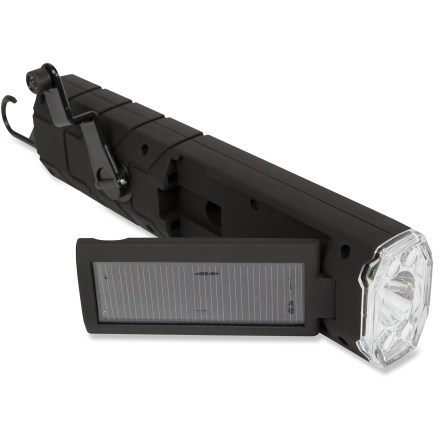 Camp and Hike Be ready for power outages and spontaneous road trips with the Goal Zero Torch Solar Crank flashlight. It can be powered by its built-in solar panel, AC/DC input or hand crank. 18 LEDs on the side provide soft flood light and 4 LEDs on the top throw a spot beam; side LEDs run for 12 - 15 hrs. and the top LEDs run for 10 -12 hrs. on a full charge. NiMH battery fully recharges in 6 - 7 hrs. from a vehicle power outlet; in sunny weather, the battery recharges in 9 - 10 hrs. using the built-in solar panel. Or you can use the dynamo hand crank to recharge; 1 min. of cranking provides 10 min. of light. The Goal Zero Torch Solar Crank flashlight includes a 12V adapter for recharging the battery via a vehicle power outlet. - $39.95