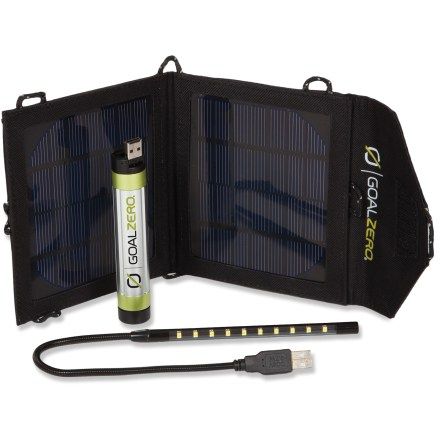 Camp and Hike The Goal Zero Switch 8 recharging kit combines the Switch 8 portable recharger, Nomad 3.5 solar panel, and Luna LED light to help keep you powered up and illuminated wherever you go. Switch 8 recharger contains a lithium battery and USB in/out to give your smartphone, tablet, or other USB-compatible device a boost from the wall, your car, or the sun. Lithium battery holds a full charge for up to 6 months. The Nomad 3.5 solar panel charges the Switch 8 with sunlight in 6 - 12 hrs.; it features a foldable, rugged design and a pocket that protects gear while charging. Switch on the Luna LED light to illuminate anything from a keyboard to a tent; its low power draw makes it a long-lasting light solution. 1 watt LED with 10 bulbs efficiently produces bright, white light and is rated for 20,000 hrs. of use; 9 in. bendable cord lets you secure the light at any angle. - $99.95