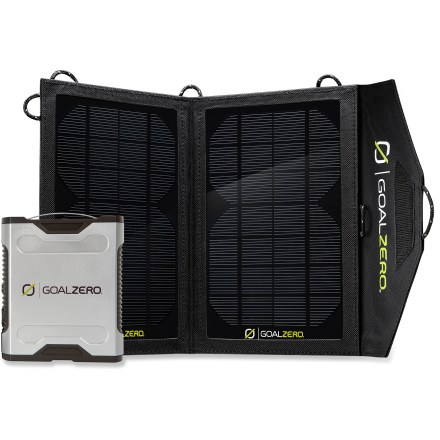 Camp and Hike The Goal Zero Sherpa 50 adventure kit combines the portable convenience of the Sherpa 50 power pack with the compact and efficient Nomad 13 solar panel for sun-powered juice on the go. Sherpa 50 power pack offers a versatile, go-anywhere power source that charges USB-, 12V- and AC-compatible devices, including laptops, tablets, e-readers and smartphones. Fully charged, the Sherpa 50 can double the battery life of a laptop or tablet, and can extend the battery life of an e-reader 5 times and a smartphone by 7 times. Simply charge the power pack up from a wall, solar panel, computer or car adapter and bring it along anywhere you go that lacks a power source. Output ports include USB, 12 volt auto and 12 volt sidecar; optional AC inverter sold separately. Sherpa 50 hold a full charge for up to 8 months. LCD status monitor tracks remaining power level in 20% increments; integrated charge controller helps protect the internal battery and connected devices from electrical spikes. The Nomad 13 solar panel is the perfect power source when space is tight and ounces count; 4-panel array provides plenty of solar power wherever you may roam. Highly efficient, mono-crystalline panels collect 13W of power from the sun and charges up the Sherpa 50 power pack in 6 - 10 hrs. The weather-resistant Goal Zero Nomad 13 solar panel features a compact and lightweight folding case that is tough and weather resistant. Kit includes Sherpa 50 power pack, AC waller charger, AC cord and 12V car adapter. - $269.93