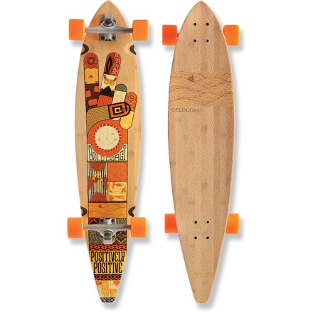 Skateboard The Goldcoast Origin longboard is positively positive! It's drifter shape and wide 26.5 in. wheelbase lets you cruise on a hilly street or crowded boardwalk in a state of ecstasy. Nothing provides the toughness, elasticity, feel and response like the Canadian 7-ply maple/bamboo deck. 70mm, 85a Shred Boot wheels float over the bumps and grip well for comfortable cruising. Century 179mm reverse-pivot trucks give you superb turning capabilities without sacrificing aesthetics. Genuine Goldcoast ABEC 7 bearings provide a swift yet smooth ride. The Origin lincludes Century 4mm flat risers, 90a bushings and clear grip tape. Please note: wheel colors may vary from photo. - $190.00