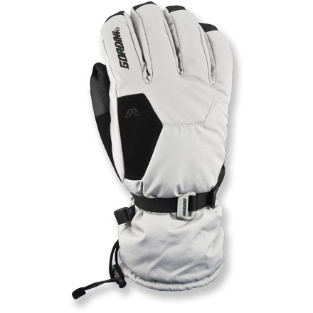 Ski The Gordini Stomp II snow gloves keep a woman's hands toasty warm for playing in the snow. Ripstop nylon fabric features Aquabloc(R) waterproof breathable inserts for superior protection. Megaloft(R) polyester insulation keeps hands warm without adding bulkiness. Smooth synthetic fleece linings are soft against skin. Polyurethane palms, fingers, thumbs and wrap caps offer a sure grip. Nose wipes on thumbs, gauntlet cuffs with cinch closures and zippered heater pack pockets (heater packs not included) round out features. Special buy. - $20.73