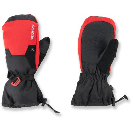 Ski Little hands will appreciate the big warmth of the Gordini Stomp II snow mittens. Ripstop nylon fabric features Aquabloc(R) waterproof breathable inserts for superior protection. Megaloft(R) polyester insulation keeps hands warm without adding bulkiness. Smooth fleece linings are soft against skin. Polyurethane palms offer sure grip. Nose wipes on thumbs and gauntlet cuffs with cinch closures round out features. Special buy. - $21.93
