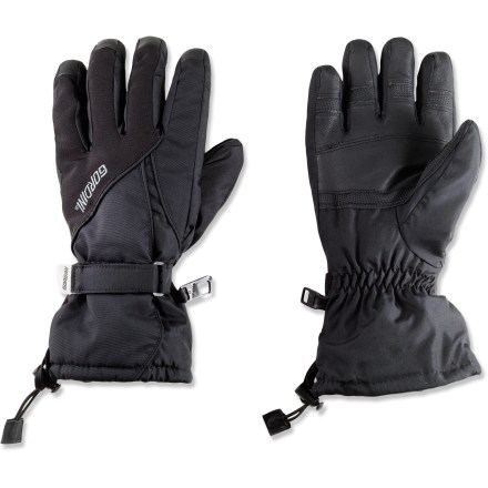 Ski These Gordini Prima women's gloves provide warmth and weather protection for skiing and snowboarding. AquaBloc(R) Heatrap(R) construction keeps hands warm and dry. Seam-sealed liners keep water out yet allow vapor emitted from user's skin to pass through; hands stay dry and warm. Leather palms and fingertips provide sure grip. Gauntlets with cordlock closure ensure that heavy weather stays outside; rip-and-stick closures snug the gloves around wrists. Precurved for a natural fit and sized for a woman's hands; stretch panels allow easy flex. Special buy. - $29.93