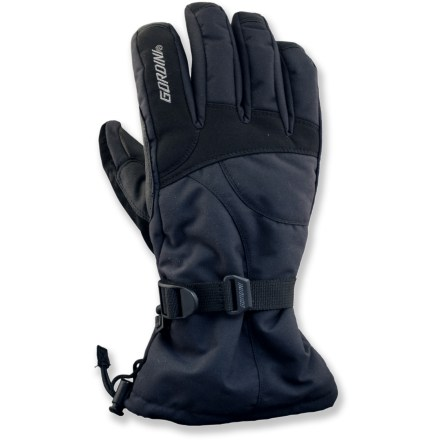Ski The Gordini Aquabloc Down Gauntlet II gloves are a great choice for cold-weather play. Ripstop nylon fabric features a waterproof breathable Aquabloc insert for protection from moisture and wind. 600-fill-power down insulation warms the backs of your hands; lofty synthetic insulation warms palms. Synthetic tricot lining moves moisture away from the skin. Leather palms provide a sure grip. Gordini Aquabloc Down Gauntlet II gloves feature long cuffs with cordlock closures. Special buy. - $34.73