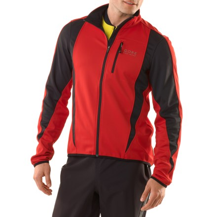 Fitness The GORE BIKE WEAR Contest SO soft-shell bike jacket stops the harsh wind so you can relish the fresh air while you stay toasty on the inside. Gore WindStopper(R) soft shell eliminates windchill yet remains breathable and capable of dissipating excess moisture quickly so you stay dry and warm. Soft-shell fabric repels light rain and snow effectively; a touch of stretch follows with you as you tuck in low to the bars. Polyester fleece lining traps heat inside, wicks moisture and dries quickly. High collar and droptail hem offer extended coverage. Zippered chest pocket and rear stash pocket provide space to stow accessories. Semi-locking front zipper slider; zipper tab pulls allow for easy zipper operation when wearing gloves. Pre-shaped elbows provide superior comfort when you're aerodynamically positioned on the bike. Slim fit minimizes bulkiness. Reflective piping enhances visibility in low light. - $109.93