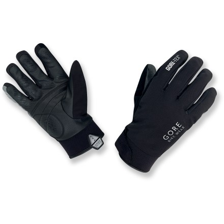 Fitness Gearing up for gruff rides in cool temperatures? The waterproof GORE BIKE WEAR COUNDOWN bike gloves provide versatile dexterity and choice weather resistance. Waterproof, breathable, windproof Gore-Tex(R) membrane provides a tough defense against heat-robbing moisture. Fleece lining insulates your hands with its soft feel. Synthetic leather reinforcements on palms resist abrasion and offer reliable grip. Gel padding absorbs shock to promote all-day comfort during rough rides. Silicone-coated index and middle fingers enhance friction when shifting and braking. Reflective insert on little finger and reflective logo increase visibiliy in low light. Rip-and-stick cuffs adjust fit. - $54.93