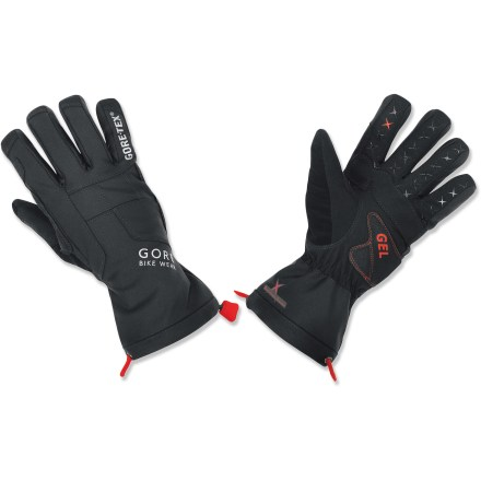 Fitness Gearing up for rough rides in cold, wet temperatures? The waterproof GORE BIKE WEAR Alp-X GT bike gloves provide dexterity, grip and weather resistance. Waterproof, breathable, windproof Gore-Tex(R) provides an excellent defense against heat-robbing moisture and windchill. Gloves feature a combination of protection with gel at the heel of the hand and foam on the palm to absorb shock and promote all-day comfort during rough or long rides. Use the soft, absorbant thumb fabric to wipe away perspiration. Extended cuffs for wrist coverage; cordlock and elastic drawsting cinch snug. Silicone-coated fingers ensure excellent grip. Reflective trim on fingers and reflective logo on back of hands increase visibility in low light. - $59.93