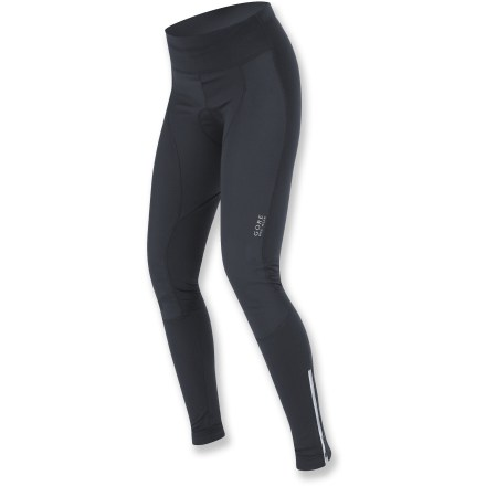 Fitness When summer leaves and the cold weather blows in, reach for the women's GORE BIKE WEAR Power SO soft-shell bike tights to add warmth to your Fall and Winter rides. Front of tights feature Gore WindStopper(R) fabric to eliminate windchill; fabric is breathable and capable of quickly dissipating excess moisture to keep you dry and warm. With high elasticity and solid support, the 4-way stretch fabric moves naturally, even in awkward positions. Anatomic design offers a flawless fit and supports muscles during all-day rides. Front waistband features a wide, elastic-free insert to provide superior comfort when you're aerodynamically positioned on the bike. Gender-specific chamois uses high-density foam in targeted areas to support without bulkiness; ultrasoft, breathable chamois is fully elasticized for added flex and stretch. Chamois features a microfiber covering that wicks moisture away, ergonomic shaping and smooth, sonic-welded seams to reduce friction. Preshaped knees provide an aerodynamic fit in the bike posture. Semi-locking ankle zippers ease dressing; reflective zipper trim enhances visibility. GORE BIKE WEAR Power SO women's bike tights have reflective logos that help to increase visibility in low light. Zippered pocket at center back securely holds essentials such as house/car key and cash. Gripping elastic at ankles holds the tights in position. - $74.83