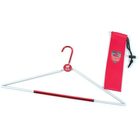 Camp and Hike The Grand Trunk Hang-N-Go travel hanger lets you dry your clothes out by hanging them up while camping or travelling. Folding aluminum hanger breaks down easily to stow in your pack; includes a storage sack. Special buy. - $10.73