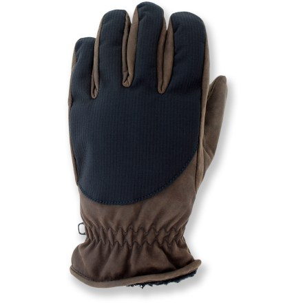 Camp and Hike The Grandoe Base Camp Leather gloves go on easy and keep hands warm. Ripstop synthetic soft-shell and leather shells feature leather palms for a sure grip. Synthetic micropile fleece linings are soft against the skin, and offer additional warmth. Elastic at wrists keeps the cold out. Closeout. - $17.83