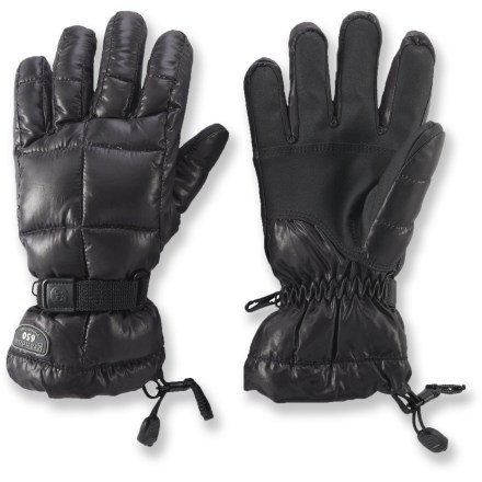 Ski The women's Grandoe Mother Goose gloves are filled with natural down insulation to keep your hands warm on winter adventures. Quality 650-fill-power goose down is warm, lightweight and compressible. Waterproof, breathable inserts keep out moisture from snow and rain. Leather palms give you a good grip of your ski poles. Soft polyester tricot lining is comfortable next to skin. Pull the shockcord at the cuffs to keep cold air and snow out. - $31.83