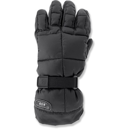 Ski The Grandoe Leather Mother Goose gloves have quality sheepskin leather exteriors that are filled with natural down insulation to keep your hands warm on winter adventures. Quality 650-fill-power goose down is warm, lightweight and compressible. Waterproof, breathable inserts keep out moisture from snow and rain. Sheepskin leather exteriors are treated to shed moisture. Leather palms give you a good grip of your ski poles. Soft polyester tricot lining is comfortable next to skin. Pull the shockcord at the cuffs to keep cold air and snow out. - $61.83