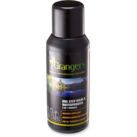 Camp and Hike The water-based Granger's One Step Wash and Waterproofer is specially formulated to clean and renew the water repellency of your outdoor gear in 1 wash cycle, saving you time, energy and water. Recommended for use on all fabrics, including Gore-Tex(R) and eVent(TM). 2 caps full treat 1 jacket; treat up to 4 garments total. Wash in warm water and tumble dry with medium heat. - $14.00