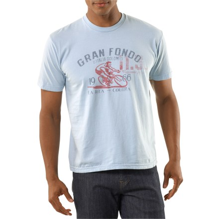 Fitness Celebrate cycling with the Green Label Organic Gran Fondo T-shirt. Made from certified 100% organic cotton for breathable comfort and easy care. Fabric is gently garment-washed with low-impact dyes. Shirt is printed without the use of PVCs or other harsh chemicals. Tag-free neck ensures comfort. The Green Label Organic Gran Fondo T-shirt is preshrunk. - $21.93