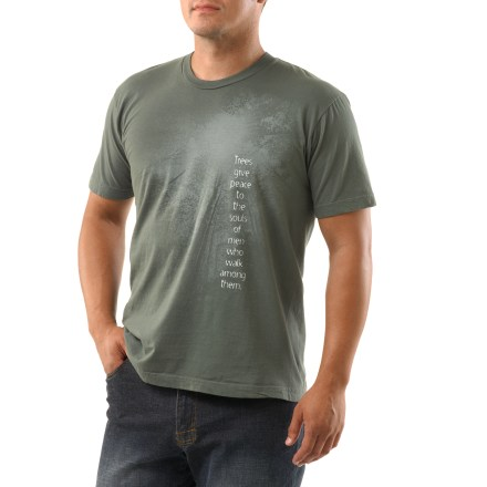 "The Green Label Organic Peace Trees T-shirt includes the saying, ""Trees give peace to the souls of men who walk among them."". Made from certified 100% organic cotton for breathable comfort and easy care. Fabric is gently garment-washed with low-impact dyes. Shirt is printed without the use of PVCs or other harsh chemicals. Tag-free neck ensures comfort. The Green Label Peace Trees T-shirt is preshrunk. - $21.93"
