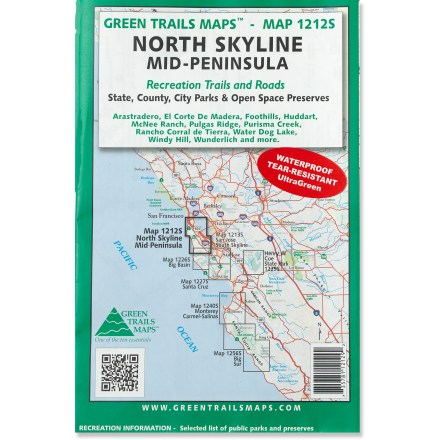 The Green Trails North Skyline Mid-Peninsula map offers a beautifully detailed topographic guide to the coastal south side of California's Bay Area. - $12.00