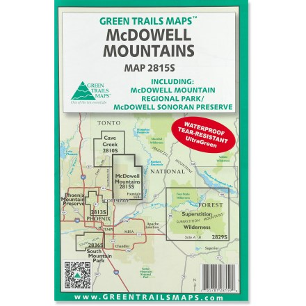 The Green Trails McDowell Mountains map offers a beautifully detailed topographic guide to the Arizona's McDowell Sonoran Preserve and McDowell Mountain Regional Park. - $12.00