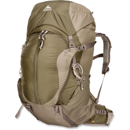 Camp and Hike The lightweight Gregory Jade 60 women's pack for multiday backpacking promotes cooling airflow across your back and effectively transfers weight from your back onto your hips. - $99.83