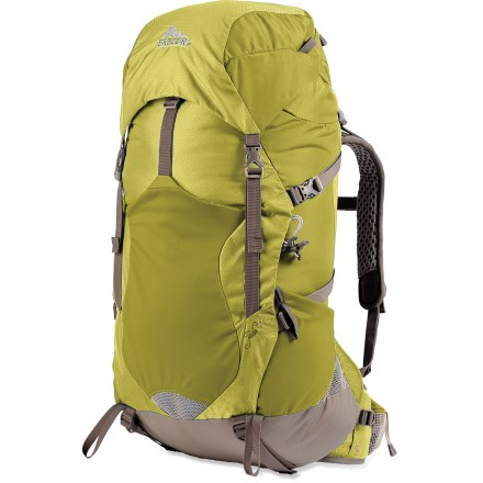 Camp and Hike The Gregory Jade 40 women's pack offers performance and comfort-it's a perfect lightweight pack for multiday backpacking. Top-loading pack with a side zipper gives you easy access to the contents inside; all zippers are water resistant. Specifically made to fit a woman's shape, Jet Stream(TM) suspension system with AeroTech(TM) mesh on narrow back panel helps move moisture away. Flexible Auto-Fit shoulder straps match your shoulder slope and angle; made from perforated foam covered with 3D mesh to allow ventilation and wick moisture away. Lightweight, perforated V-framesheet with a single hollow aluminum-alloy stay provides support and torsional stiffness without a heavy feel. Easily accessible front bucket pocket expands, letting you stash bulky gear; front of bucket pocket features a smaller zippered pocket. Floating, removable, zippered lid pocket accomodates varying load sizes of the main pack compartment below it. Mesh waistbelt pockets are ideal for stashing snacks, energy gels, lip balm, sunscreen or a mini-tool. Constructed from 210-denier HT (high tenacity) double-box ripstop nylon and 210-denier HT nylon twill for tear strength and abrasion resistance. Closeout. - $122.93