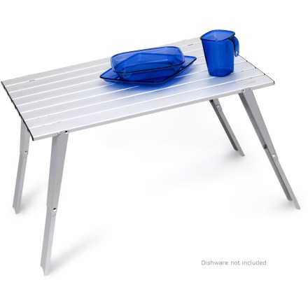 Camp and Hike Add comfort and sophistication to your campsite with the GSI Outdoors Macro table. It gives you a stable surface where you can cook, eat or play games. - $37.93