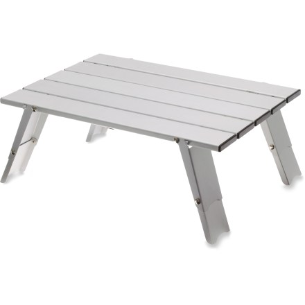 Camp and Hike Add comfort and sophistication to your backcountry camp with the GSI Outdoors Micro table. It provides a stable surface for your stove, small buffet or chess board. - $25.93