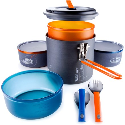 Camp and Hike The fully integrated, self-contained GSI Pinnacle Dualist Ultralight cookset gives 2 backpackers the lightweight essentials for backcountry dining. - $64.95