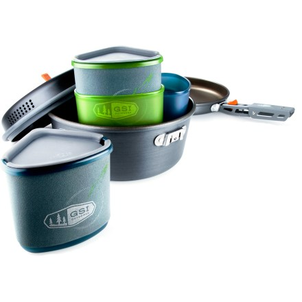 Camp and Hike Just because you're camping doesn't mean you can't enjoy a gourmet meal. Whip up a feast that will satisfy the appetites of 2 hungry hikers with the GSI Pinnacle Backpacker cookset. - $94.95