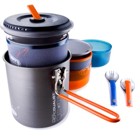 Camp and Hike The compact GSI Halulite Microdualist cookset helps you shave weight from your pack without giving up all the comforts of a full cookset. - $54.95