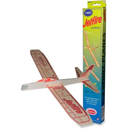 Camp and Hike The Guillow's Jetfire Balsa Wood Glider package of 2 features a twin set of classic, balsa wood stunt planes with 12 in. wing spans that enable high-flying stunts. - $2.93