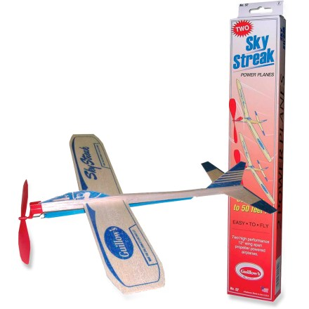 Camp and Hike The Guillow's Sky Streak Balsa Wood Power Plane package of 2 brings back the nostalgia of timeless wooden toys. Planes feature rubber-band-powered wind-up props for high-flying fun. - $4.93