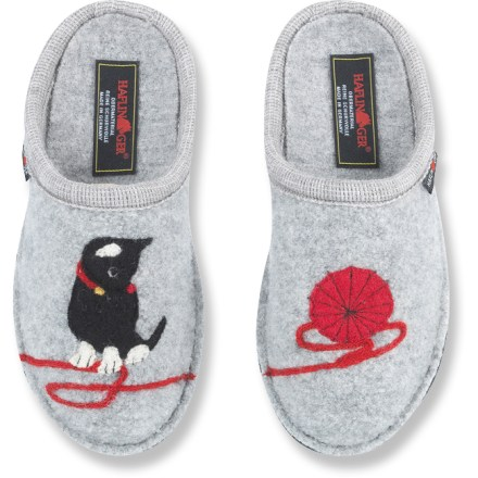 Entertainment Soft and cuddly as your real cat, the Haflinger Kitty soft-sole slippers are a feline fancier's dream. Boiled wool offers natural temperature regulation for yearround use at home. Boiled wool conforms to your feet and provides superior temperature regulation, offering warmth in the winter and cool breathability in the summer. Contoured natural latex rubber arch supports pamper your feet at the end of a long day. Haflinger Kitty soft-sole slippers feature double-layer felt outsoles with non-skid, nonmarking dots for light indoor traction. Care: machine wash warm with mild detergent on gentle cycle for 5 min., machine dry gently for several min., stuff slipper with paper overnight and allow to air dry. - $51.93