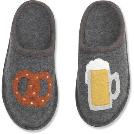 Entertainment Say Prost! to cozy feet with these Haflinger Oktoberfest soft-sole slippers. Boiled wool conforms to your feet and provides superior temperature regulation, offering warmth in the winter and cool breathability in the summer. Contoured natural latex rubber midsoles pamper your feet at the end of a long day. Haflinger Oktoberfest soft-sole slippers feature wool felt outsoles with nonskid, nonmarking dots for light indoor traction. Care: machine wash warm with mild detergent on gentle cycle for 5 min., machine dry gently for several min., stuff slipper with paper overnight and then allow to air dry. - $36.83