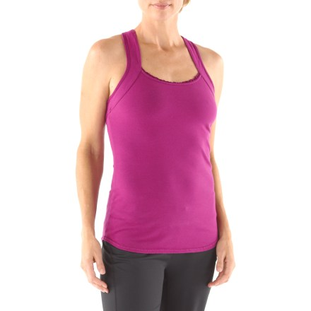 Fitness Featuring rich colors and soft fabric, the Hard Tail V-Back Ruffle tank top is perfect for yoga. Cotton and spandex blend offers softness, breathability and stretch. The Hard Tail V-Back Ruffle tank top offers a second layer of coverage and light support with its integrated bra. - $28.93